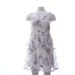 Maeve Floral White Criss Cross Mini Dress 6P